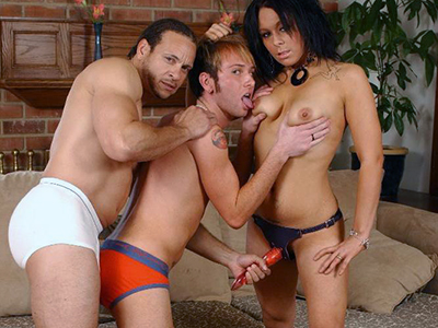 Felony takes charge in this hot MMF threesome and cram these bi men with her strap on dildo